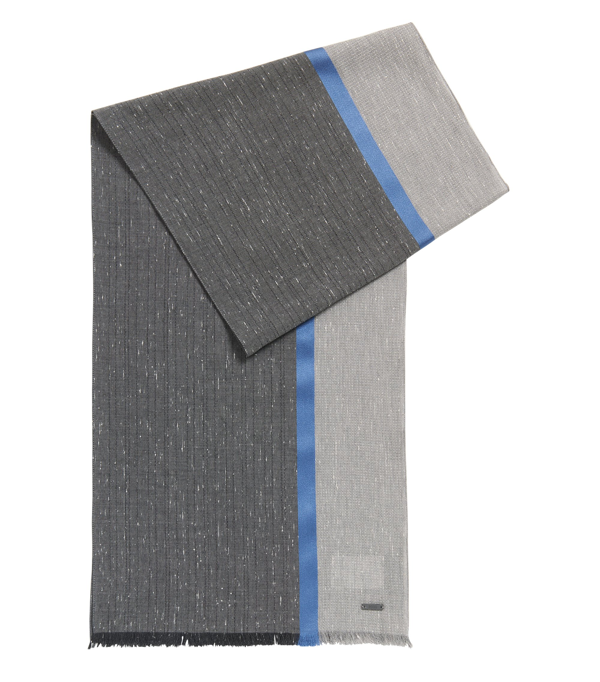 Baumwollschal in Colour-Block-Optik mit Streifen aus Seide , Grau
