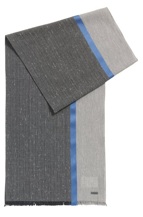 Colourblock cotton scarf with silk stripe, Grey
