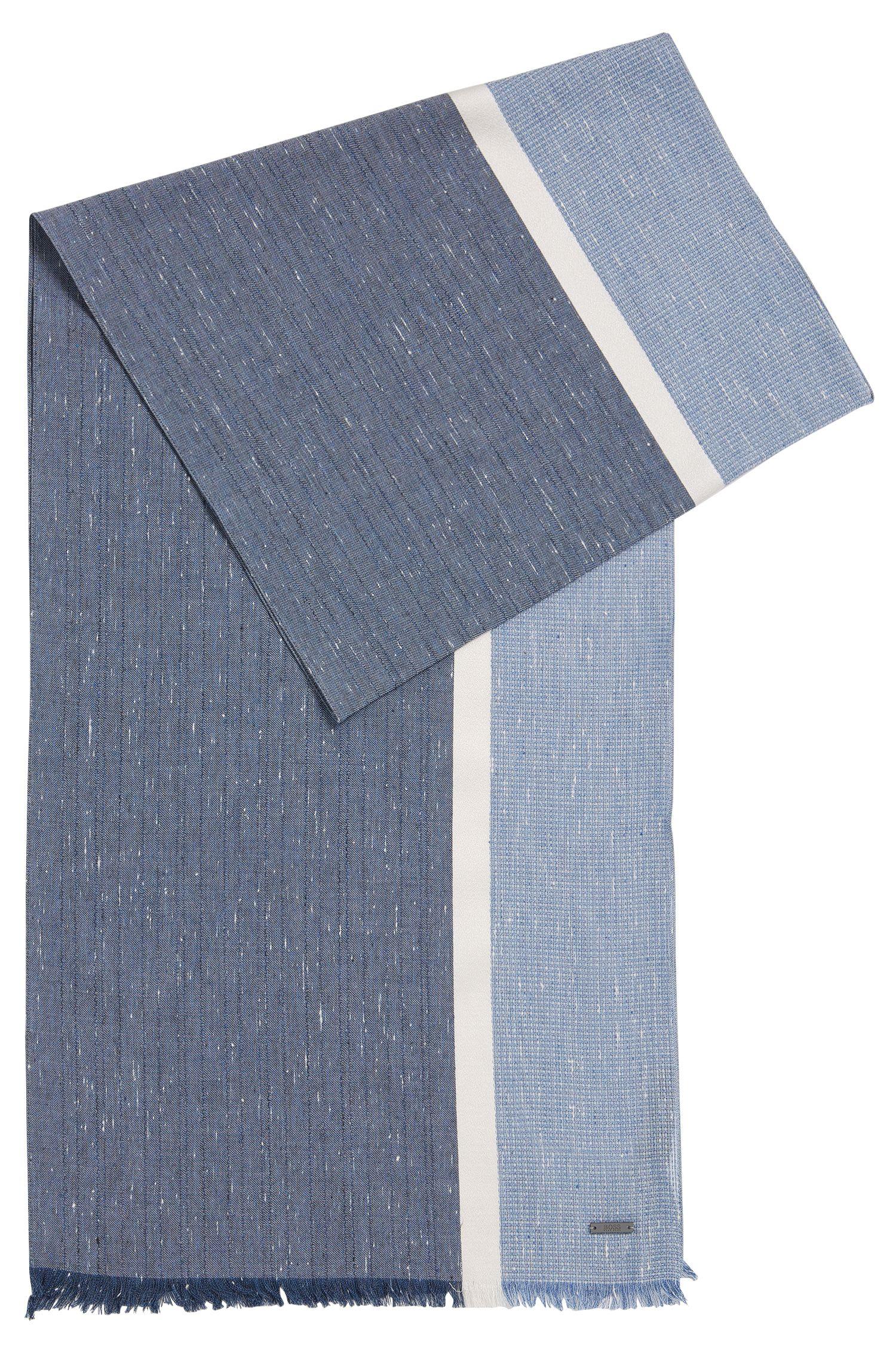 Bufanda de algodón en bloques de colores con franja de seda