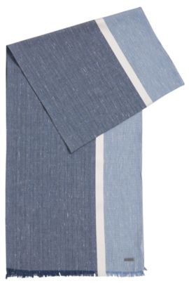 Colourblock cotton scarf with silk stripe, Dark Blue