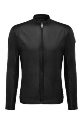 Slim-fit leather jacket with stand collar, Black