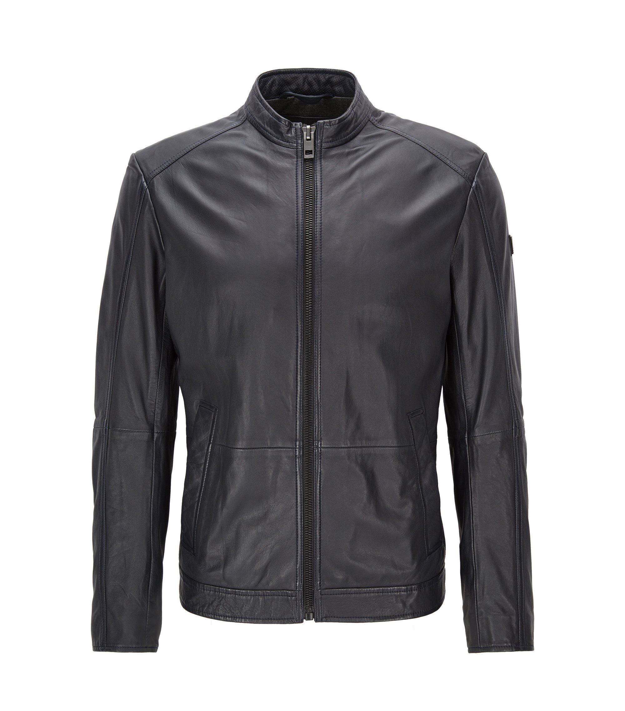 Slim-fit leather jacket with stand collar, Dark Blue