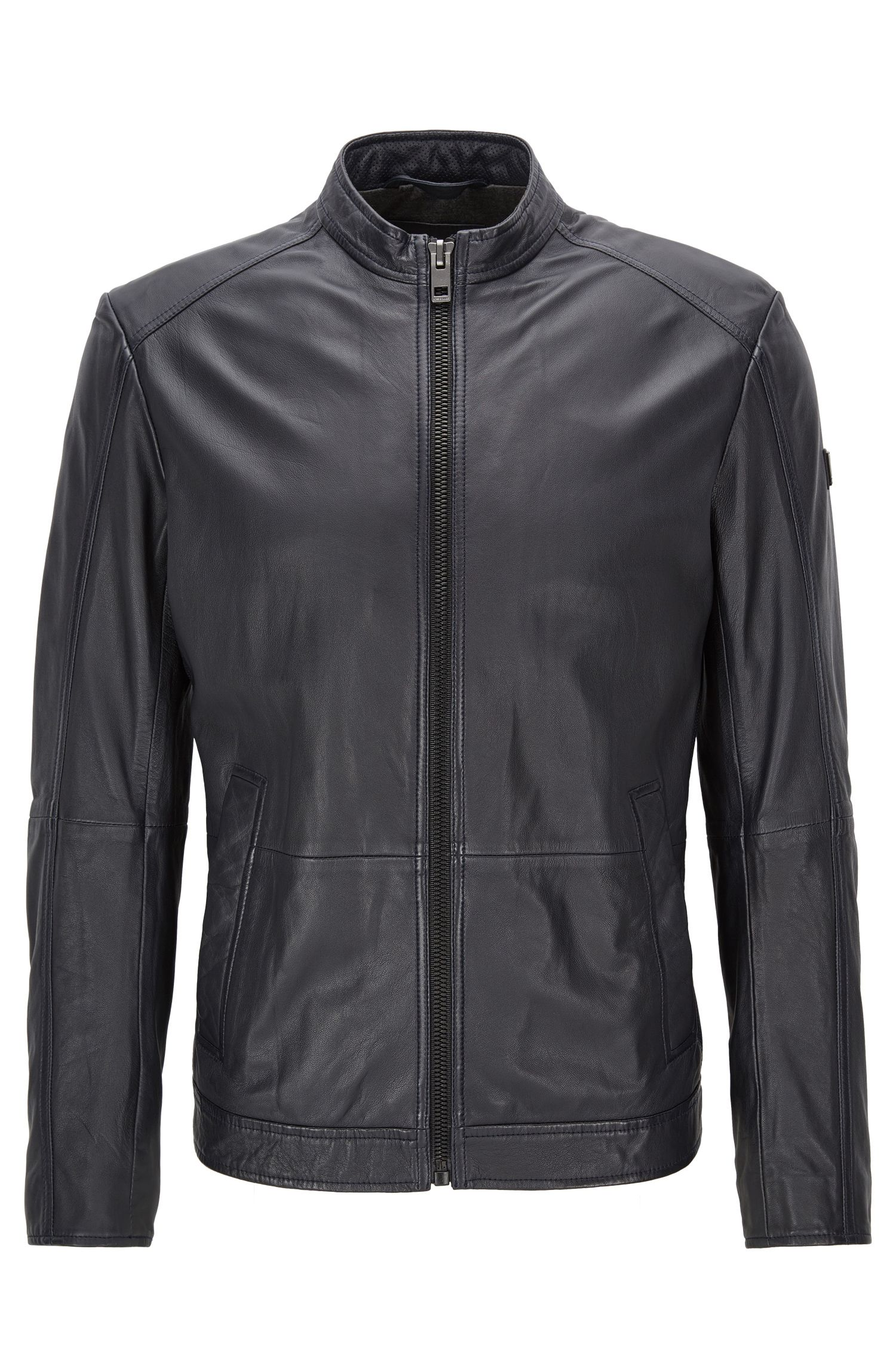 Slim-fit leather jacket with stand collar