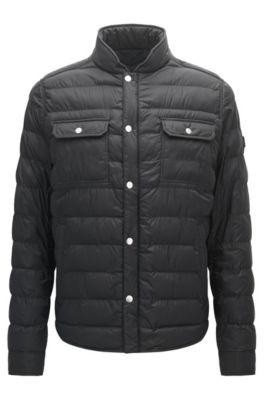 Regular-fit jas van technisch materiaal, Zwart