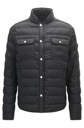 Regular-fit jacket in technical fabric, Black