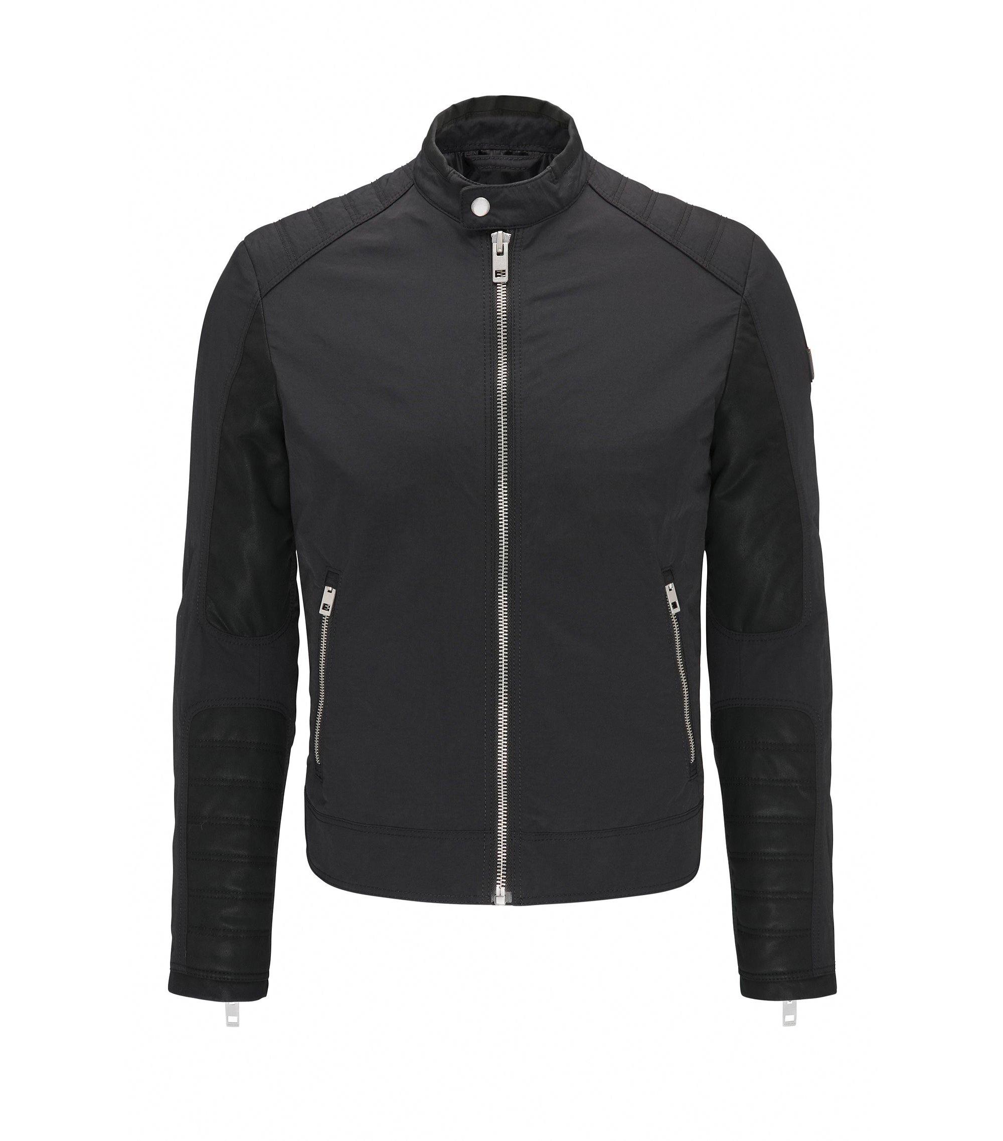 Extra Slim-Fit Bikerjacke aus wasserabweisendem Material-Mix, Schwarz