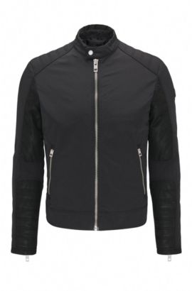 Extra-slim-fit biker jacket in water-repellent fabric, Black