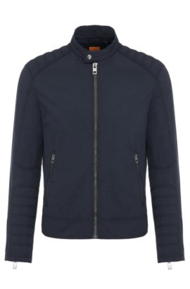 Extra-slim-fit biker jacket in water-repellent fabric, Dark Blue
