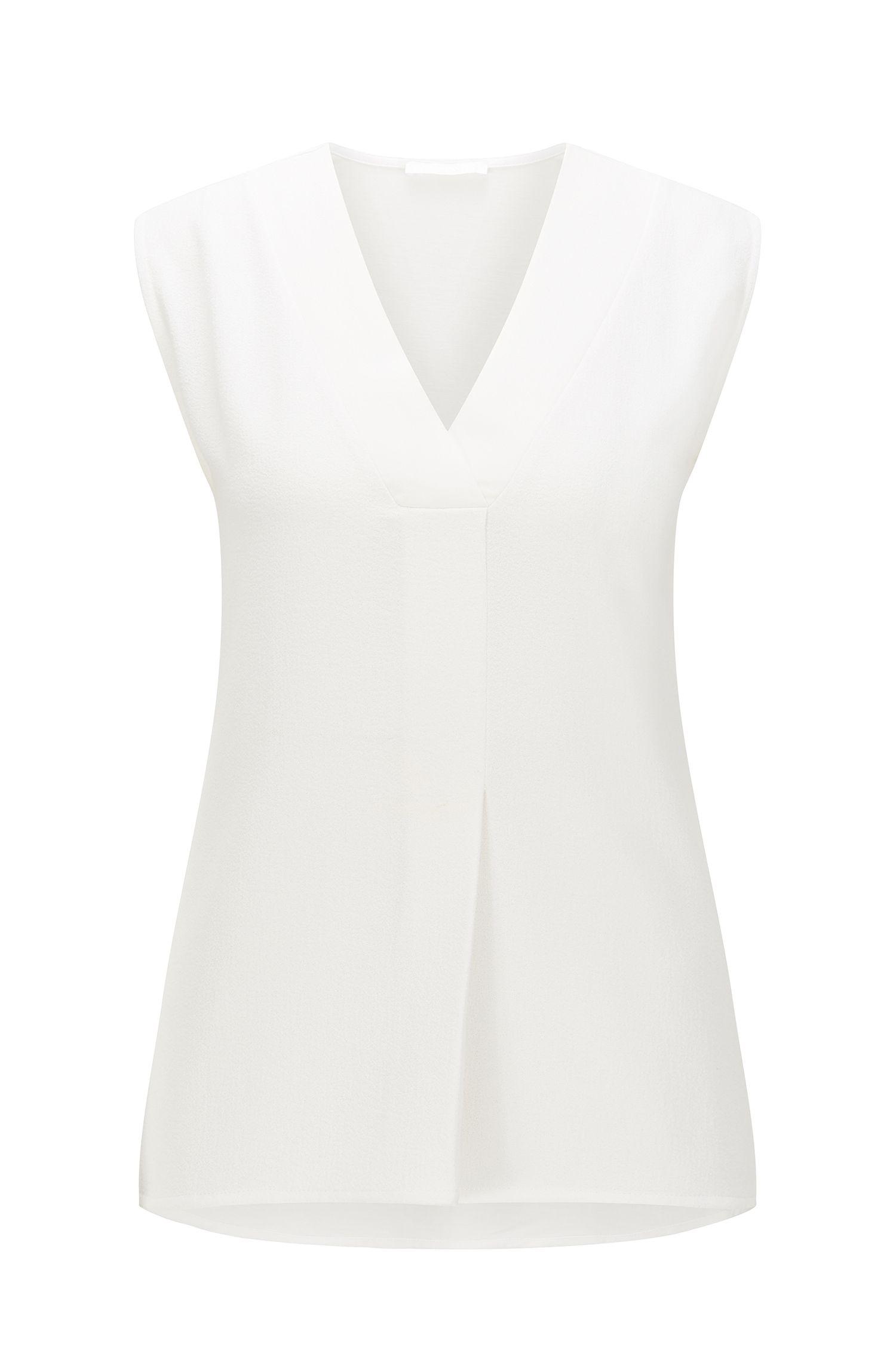Regular-fit V-neck top in a cotton blend