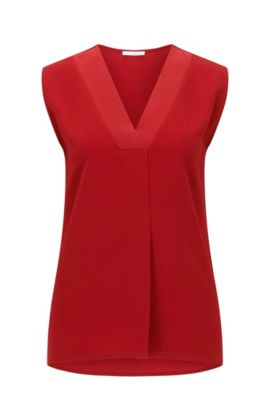 Regular-fit V-neck top in a cotton blend, Red