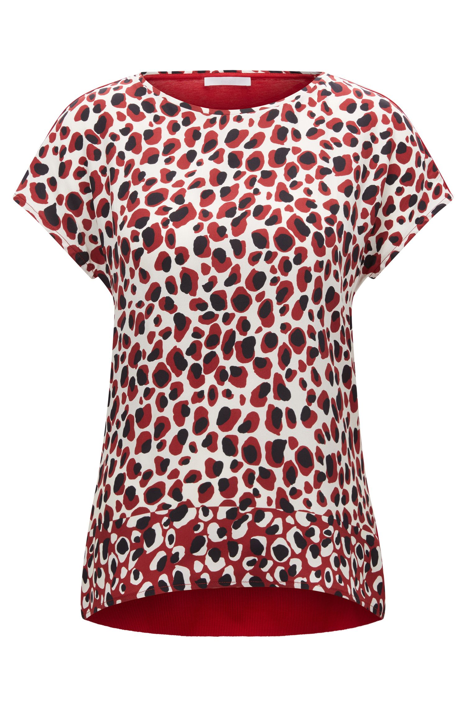 Regular-fit animal-print top in silk and jersey