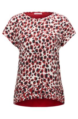 Regular-fit animal-print top in silk and jersey, Red