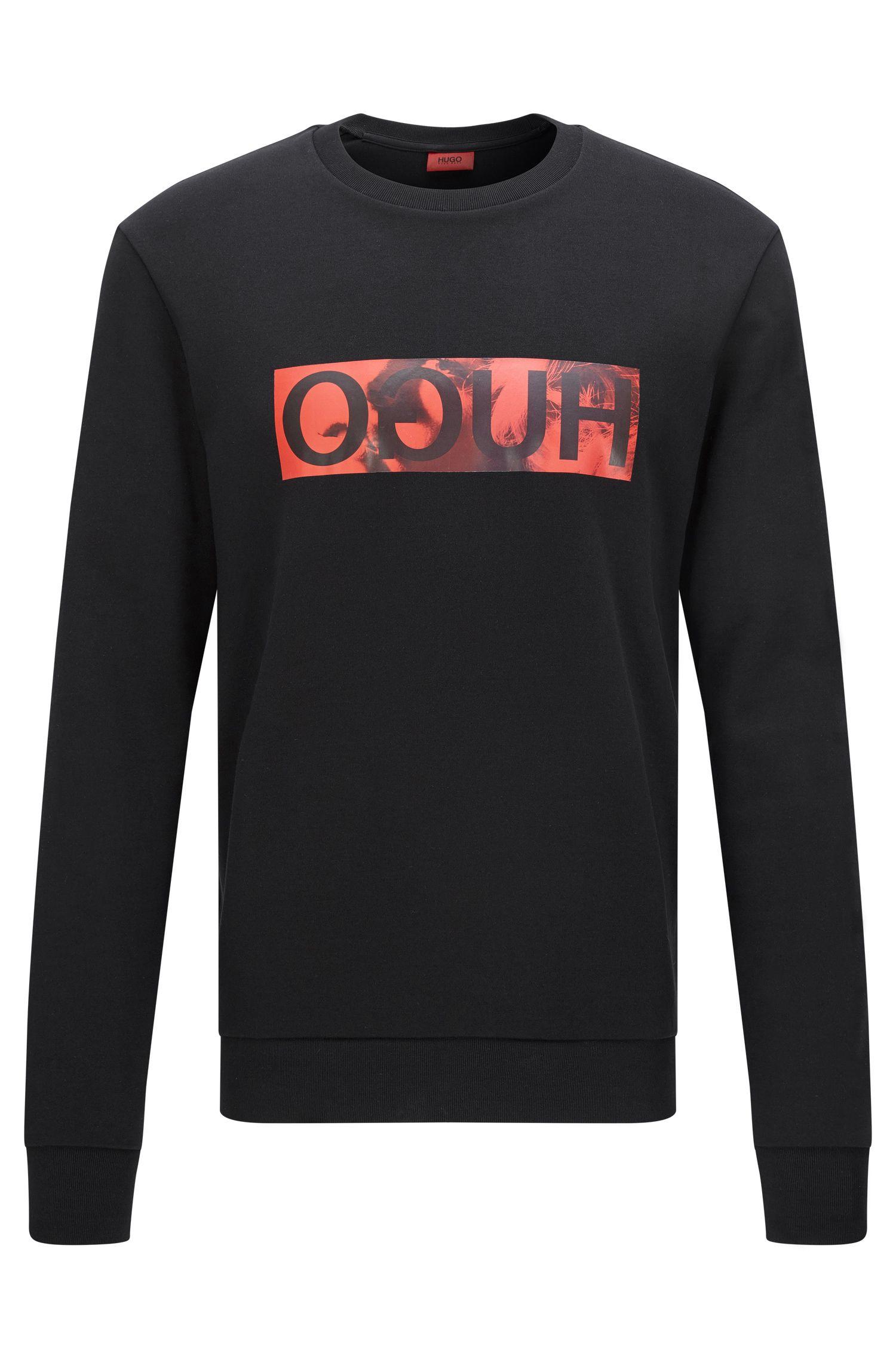 Relaxed-fit trui van katoen met gespiegeld logodetail