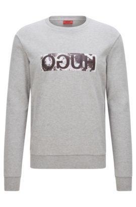 Relaxed-fit sweater in cotton with reverse logo detail, Dark Grey