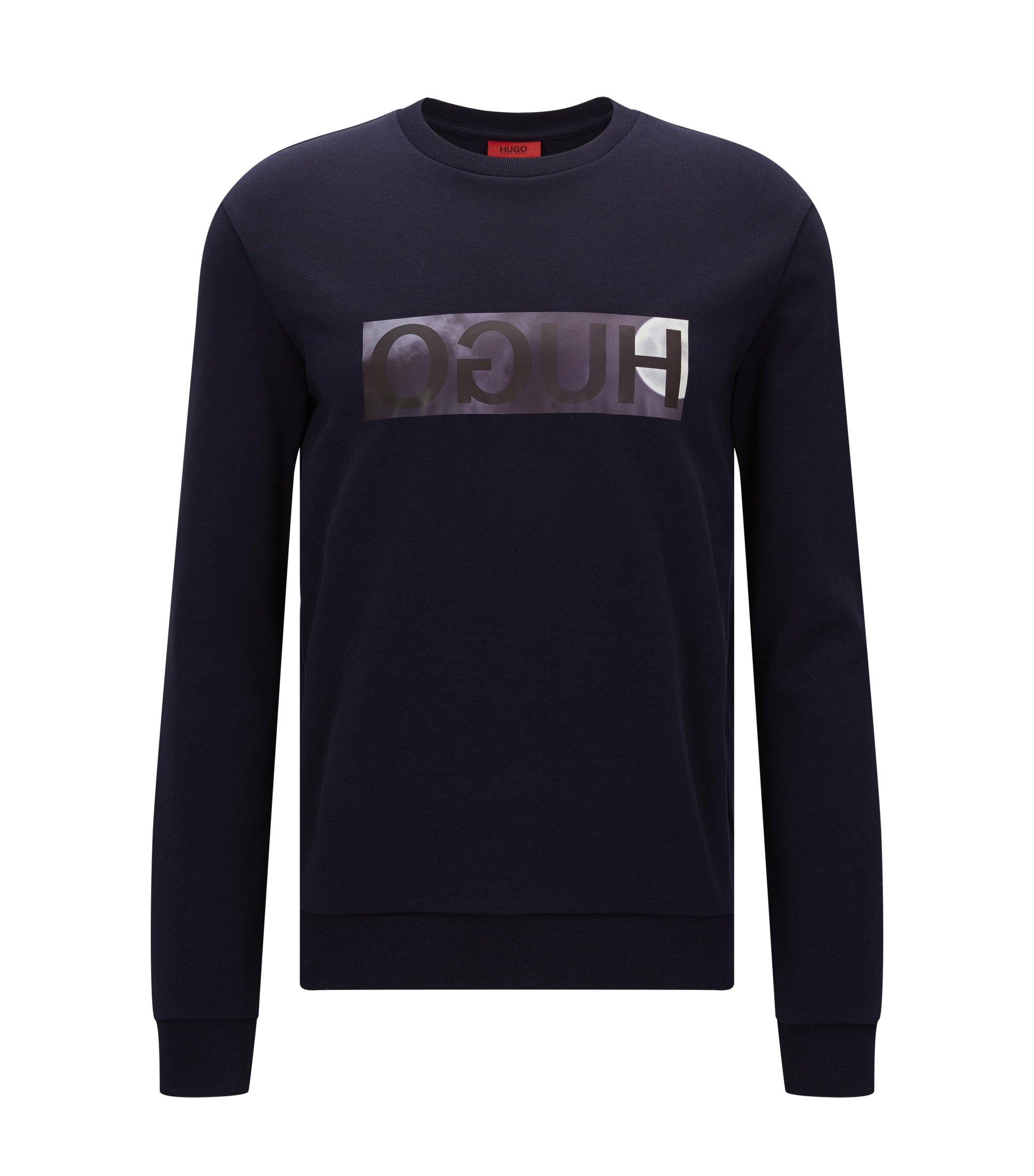 Relaxed-Fit Pullover aus Baumwolle mit spiegelverkehrtem Logo, Dunkelblau