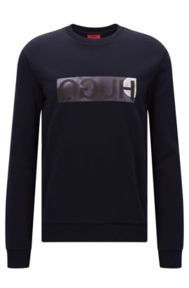 Relaxed-fit sweater in cotton with reverse logo detail, Dark Blue