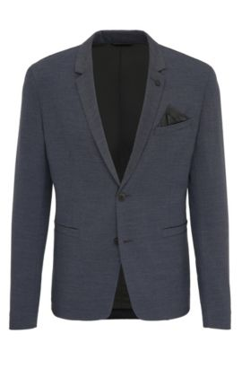 Slim-fit jacket in stretch patterned fabric, Dark Blue