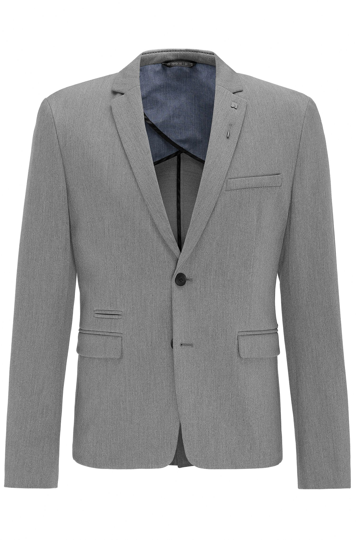 Slim-fit stretch-twill jacket with pin
