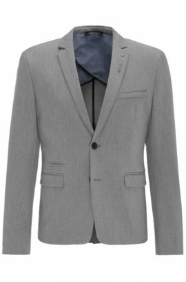 Slim-fit stretch-twill jacket with pin, Light Grey