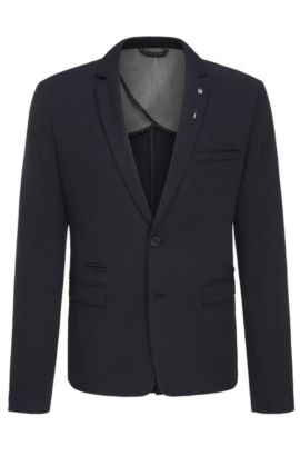 Slim-fit stretch-twill jacket with pin, Dark Blue
