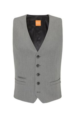 Gilet Slim Fit en twill stretch, Gris chiné
