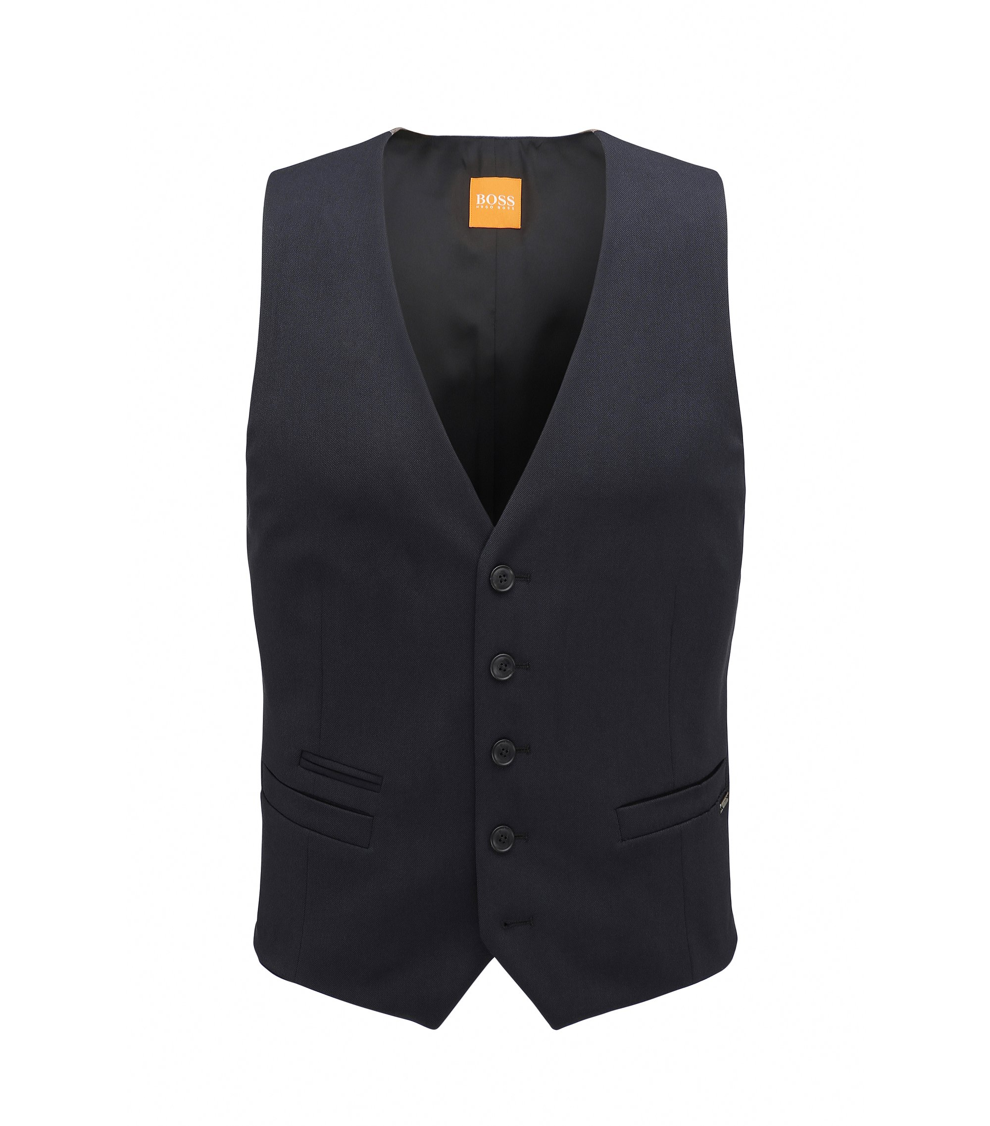 Slim-fit gilet in stretchtwill, Donkerblauw