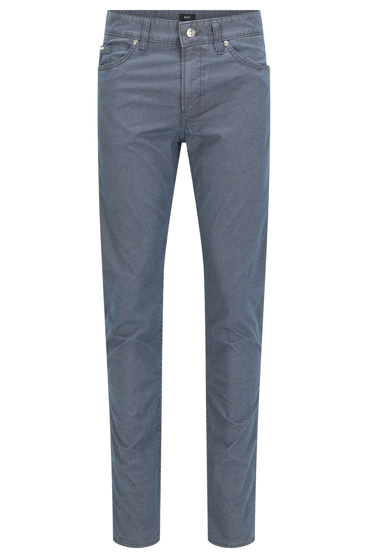Slim-fit stretch denim jeans with honeycomb effect