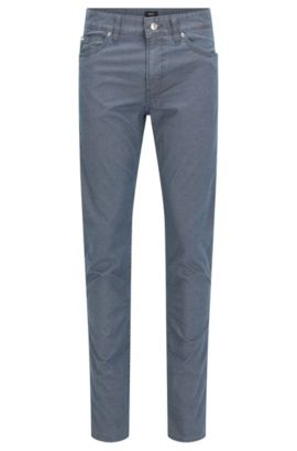 Slim-fit stretch denim jeans with honeycomb effect, Dark Blue