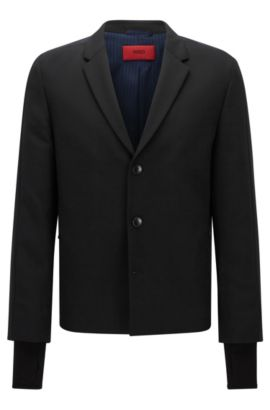 Regular-fit jacket in mixed materials, Black