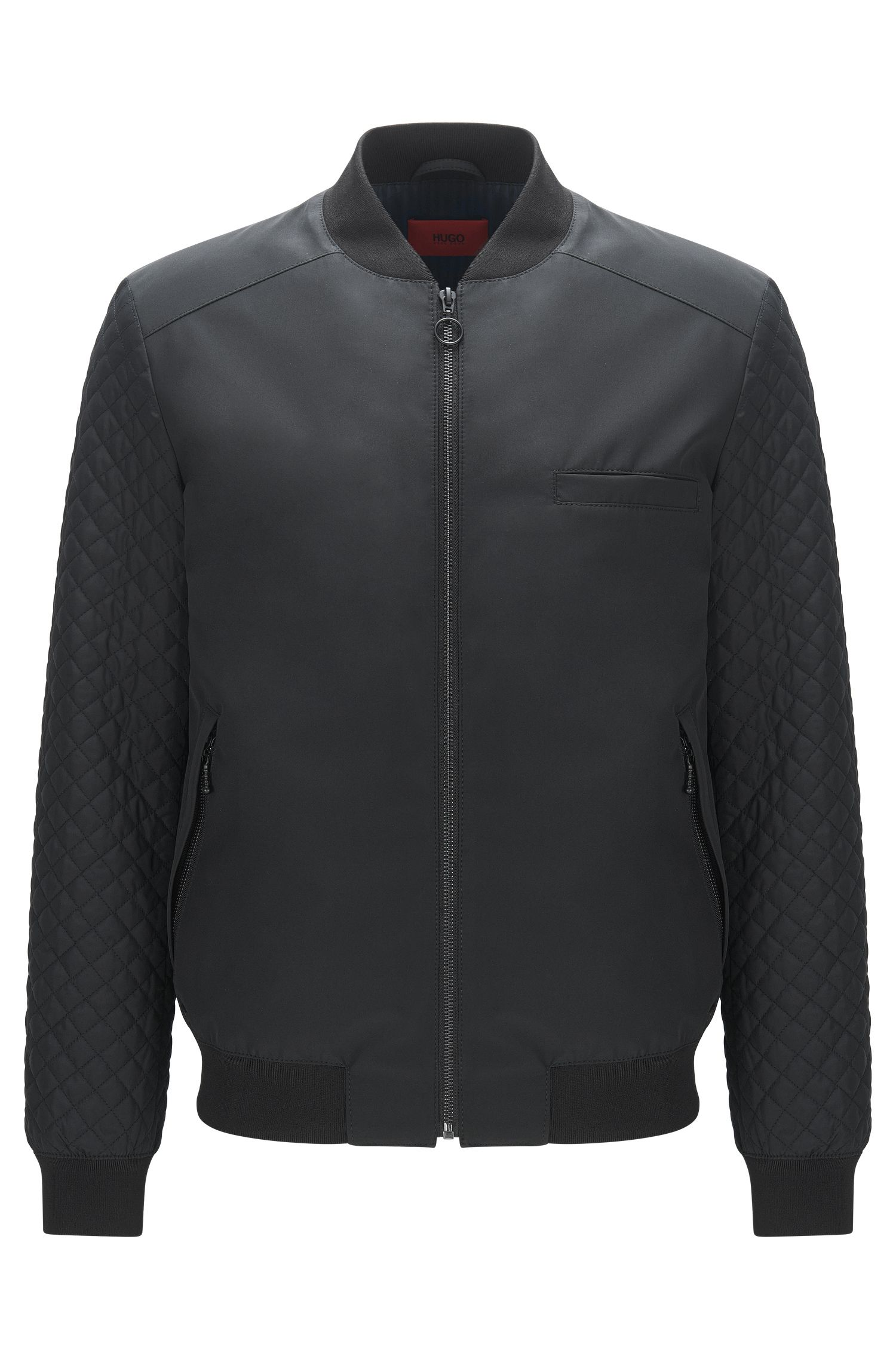 Quilted-sleeve bomber jacket in faux leather