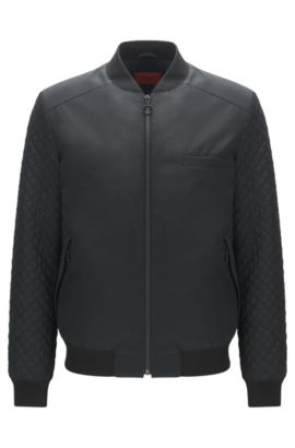 Quilted-sleeve bomber jacket in faux leather, Black