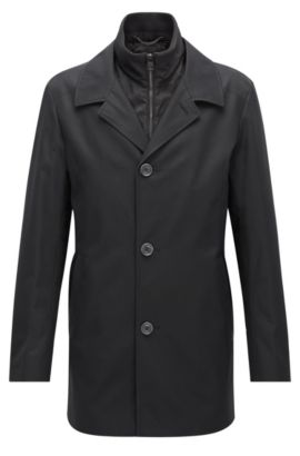 Regular-fit jacket in a water-repellent fabric, Black
