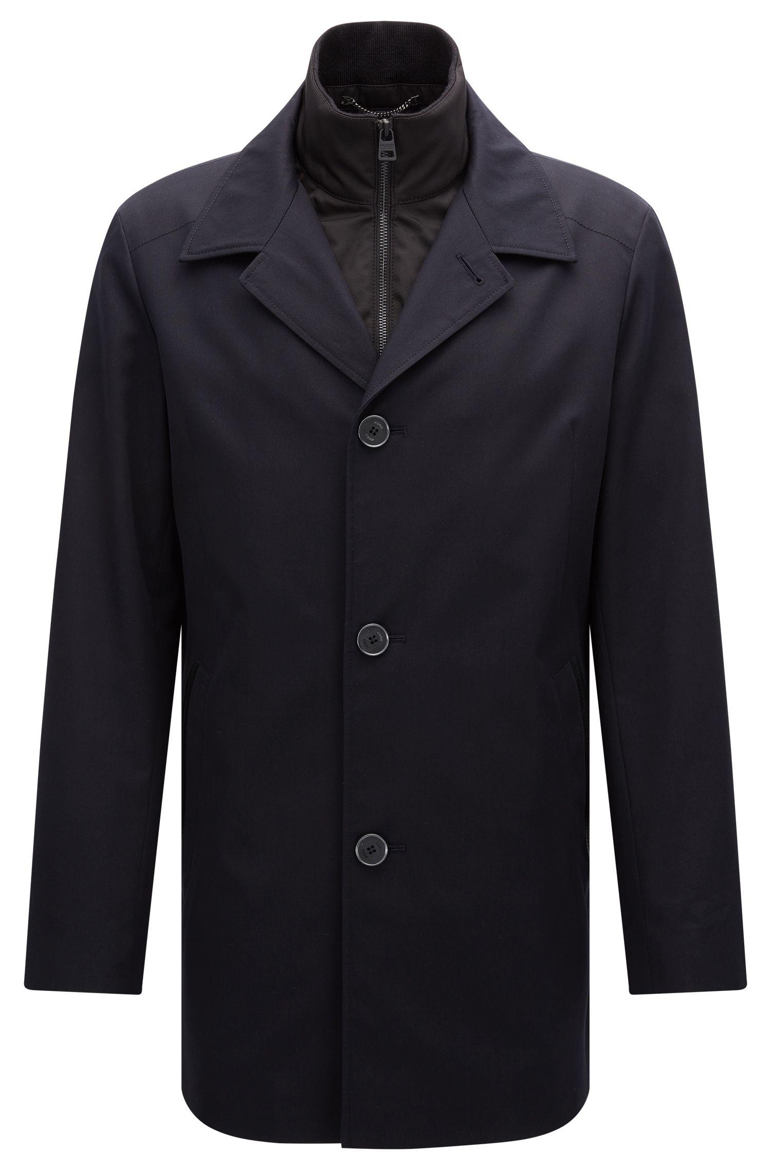 Regular-Fit Jacke aus wasserabweisendem Material-Mix mit Baumwolle