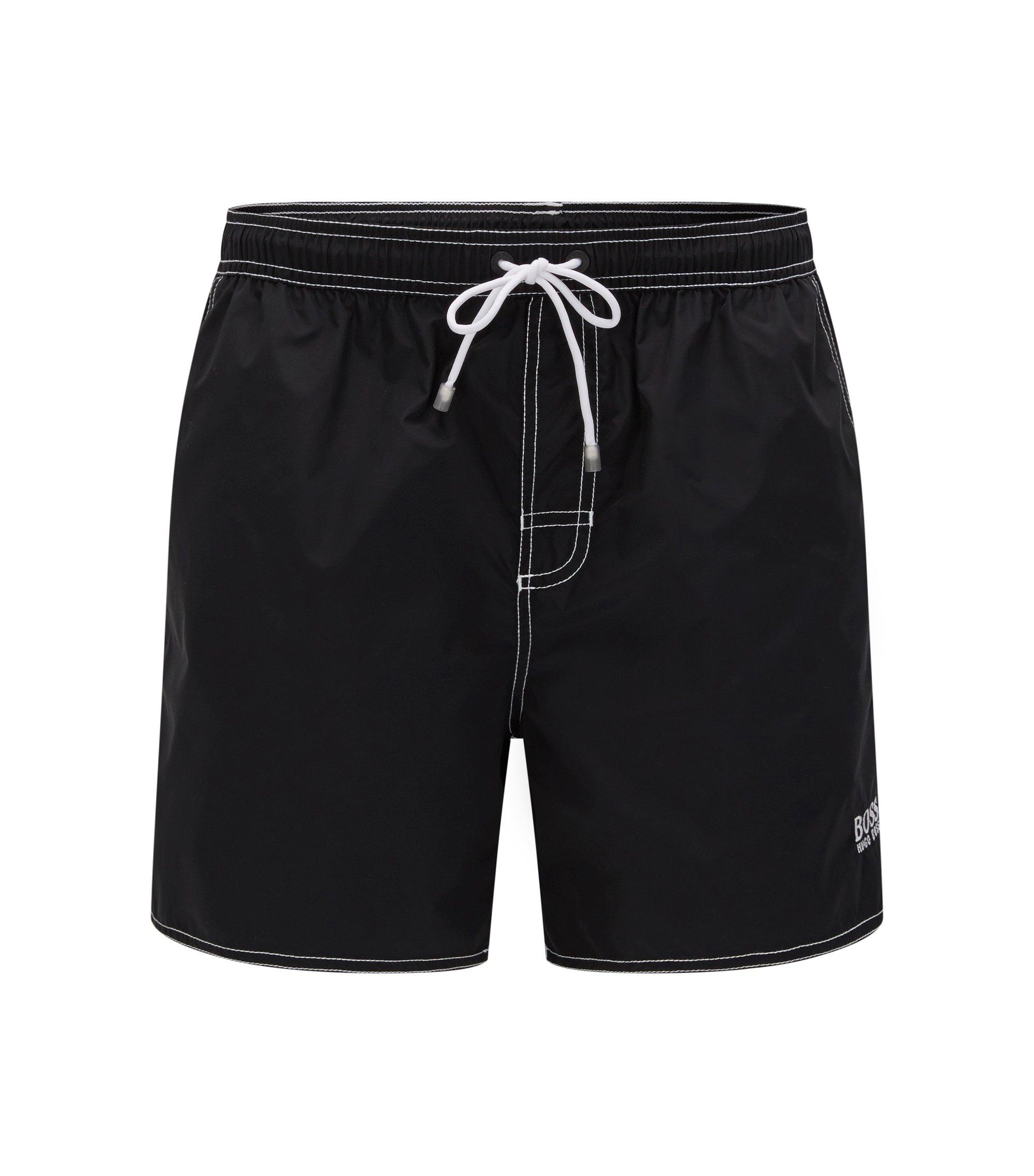 Bañador short con cordón en tejido de secado rápido , Negro