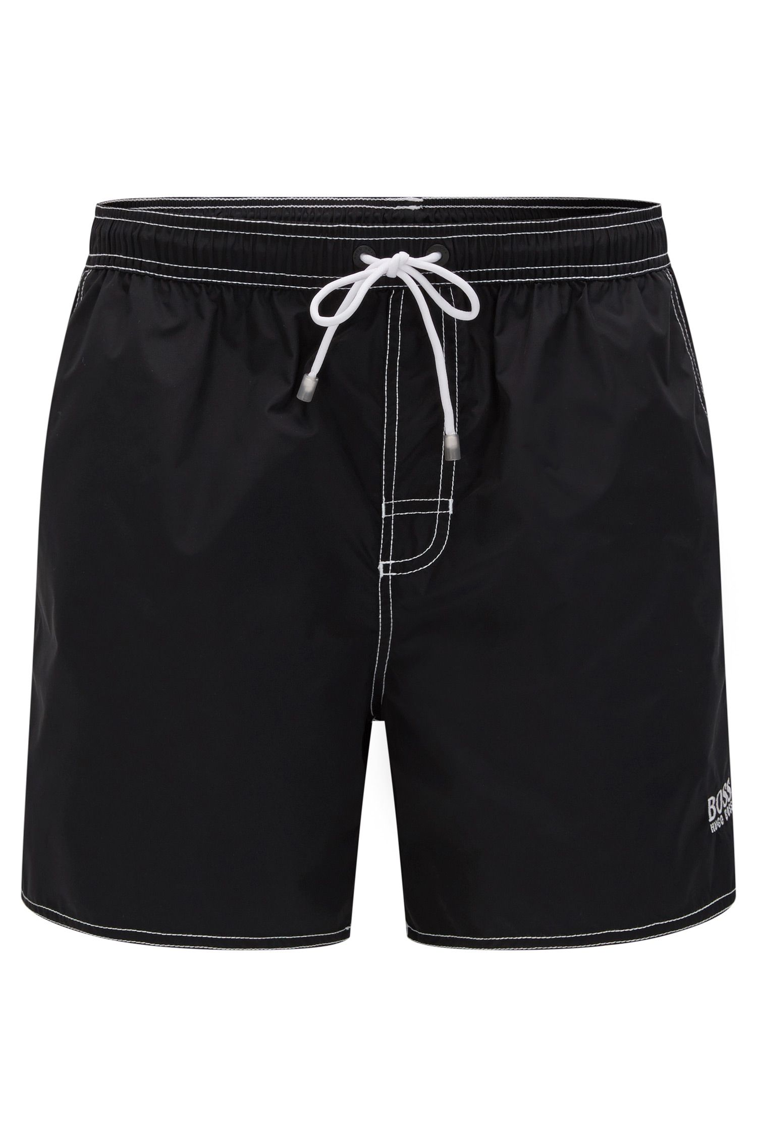 Drawstring swim shorts in quick-drying fabric , Black