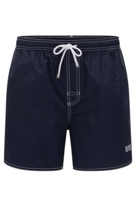 Drawstring swim shorts in quick-drying fabric , Dark Blue