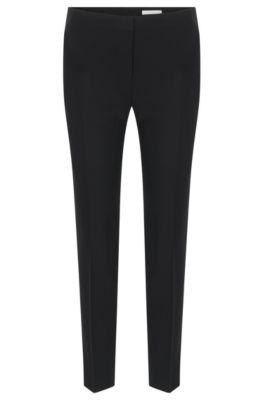 Pantalón slim fit en lana virgen elástica, Negro
