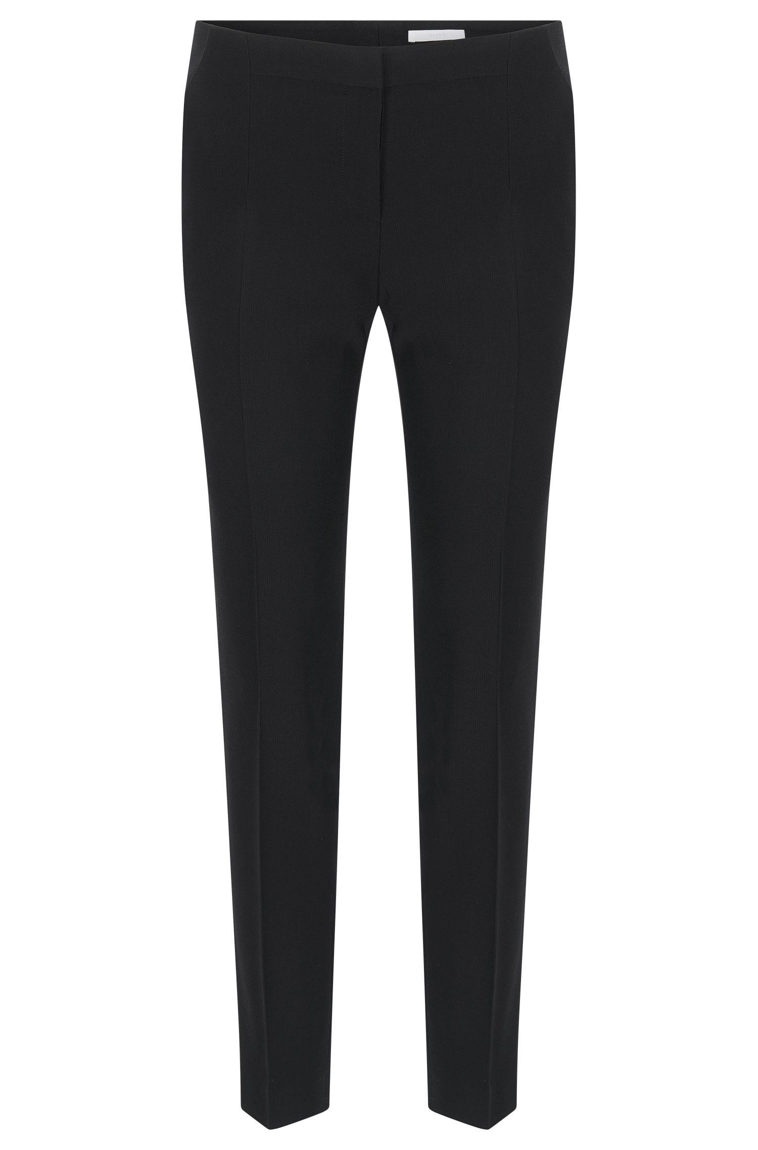 Slim-fit broek van scheerwol met stretch