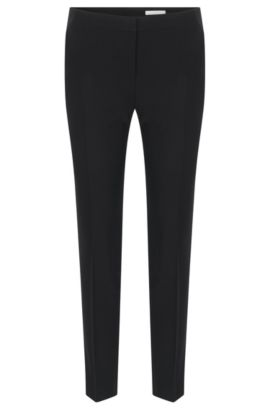 Pantalon Slim Fit en laine vierge stretch, Noir