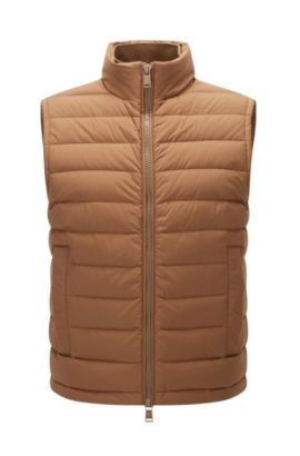 Regular-fit gilet in water-repellant stretch fabric, Beige