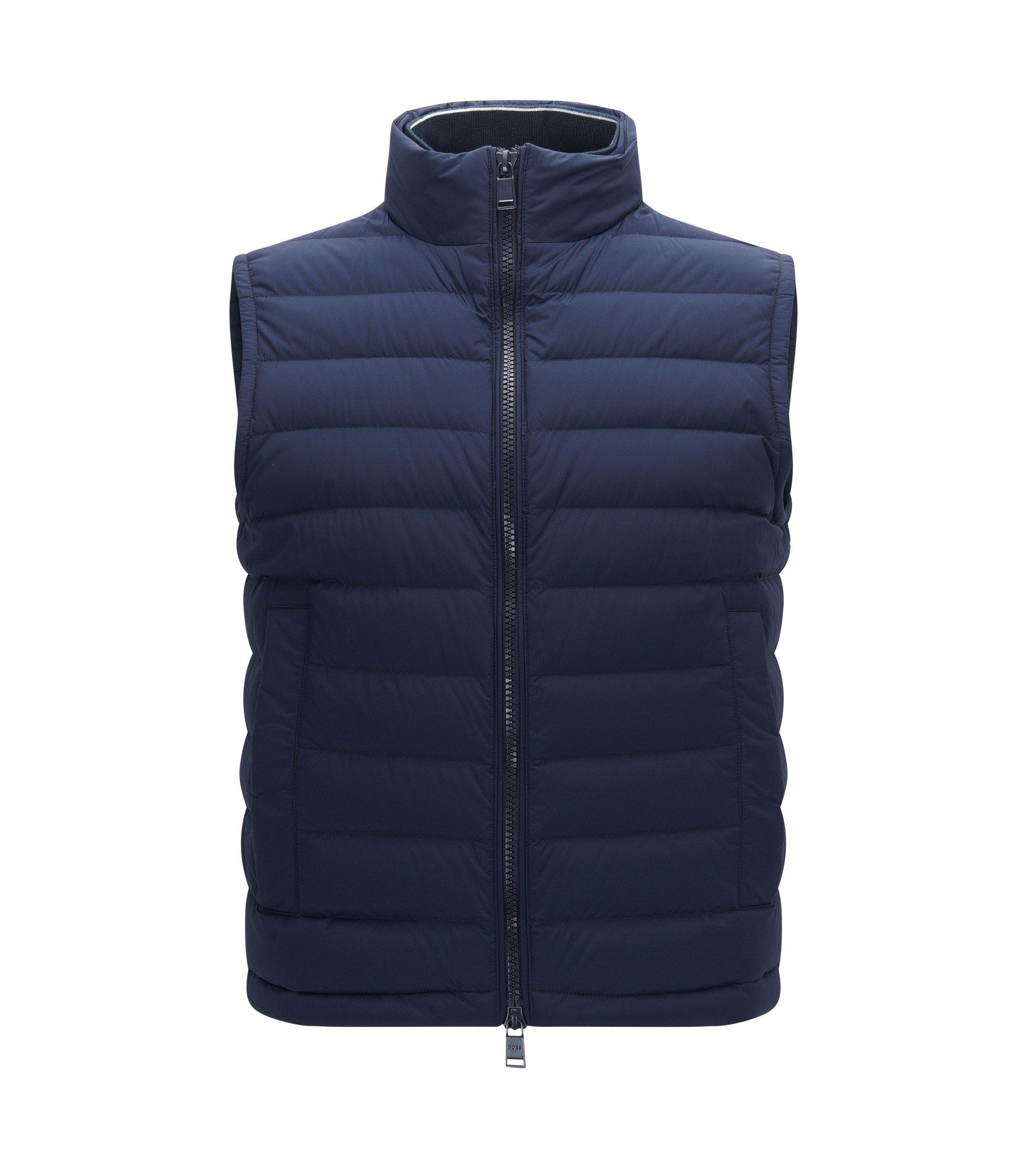 Regular-fit gilet in water-repellant stretch fabric, Dark Blue