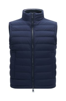 Gilet regular fit in tessuto elastico idrorepellente, Blu scuro