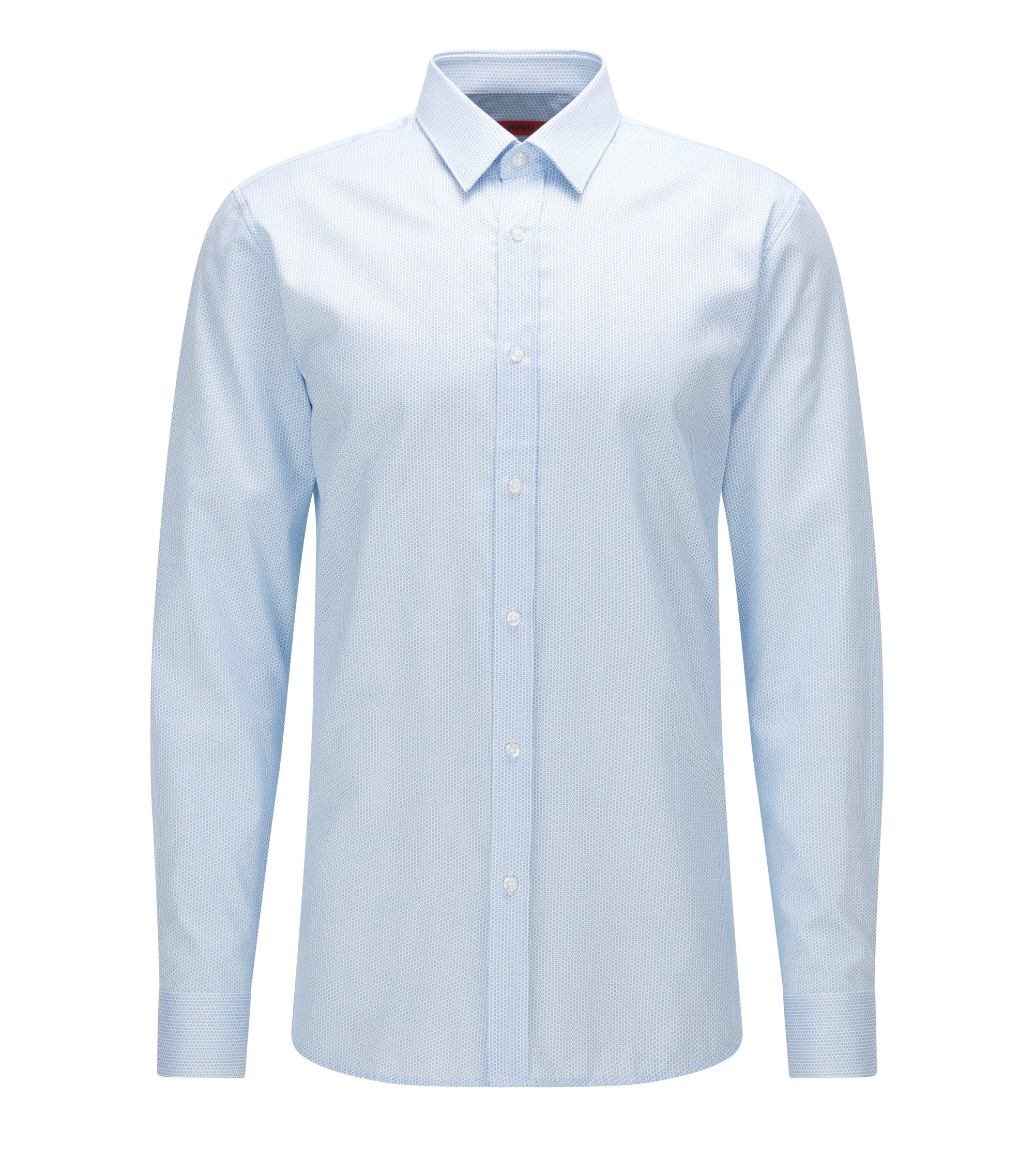 Slim-fit overhemd van katoen met geometrische microprint, Lichtblauw