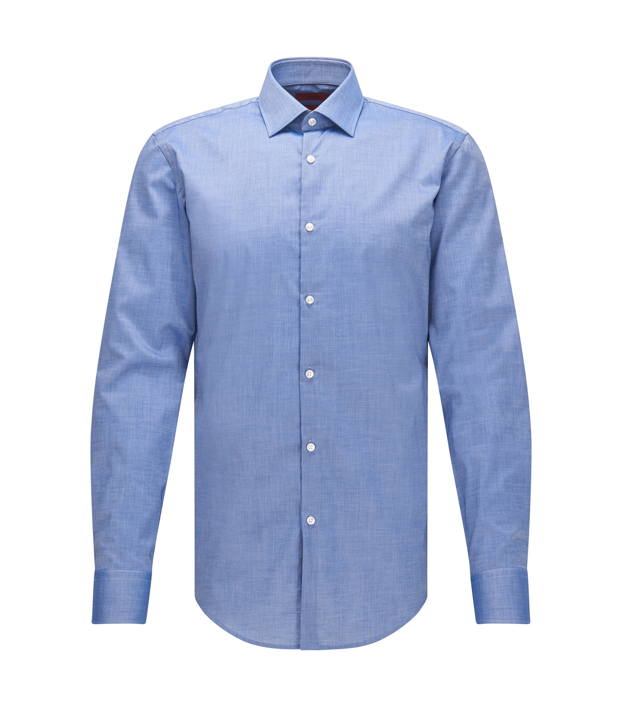 Camicia slim fit in cotone con polsini squadrati, Blue Scuro