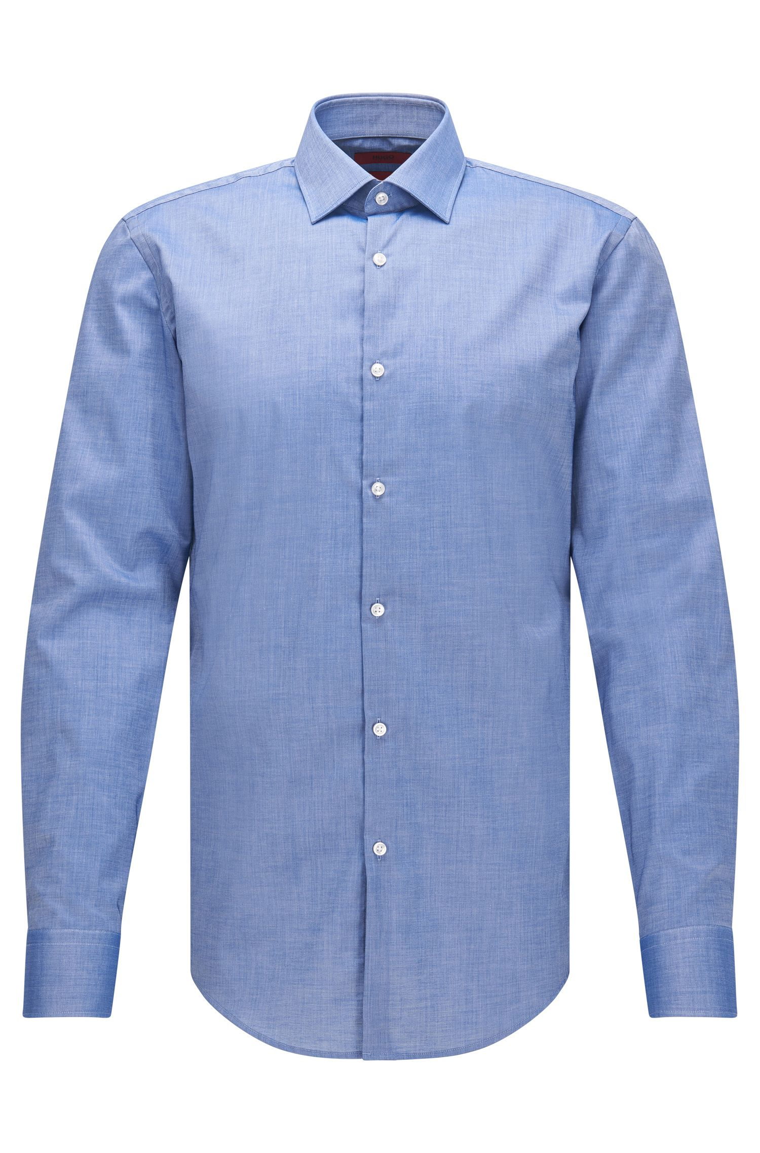 Slim-fit cotton shirt with squared cuffs