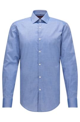 Slim-fit overhemd van katoen met rechte manchetten, Donkerblauw