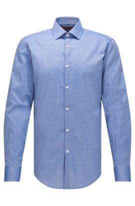 Slim-fit cotton shirt with squared cuffs, Dark Blue