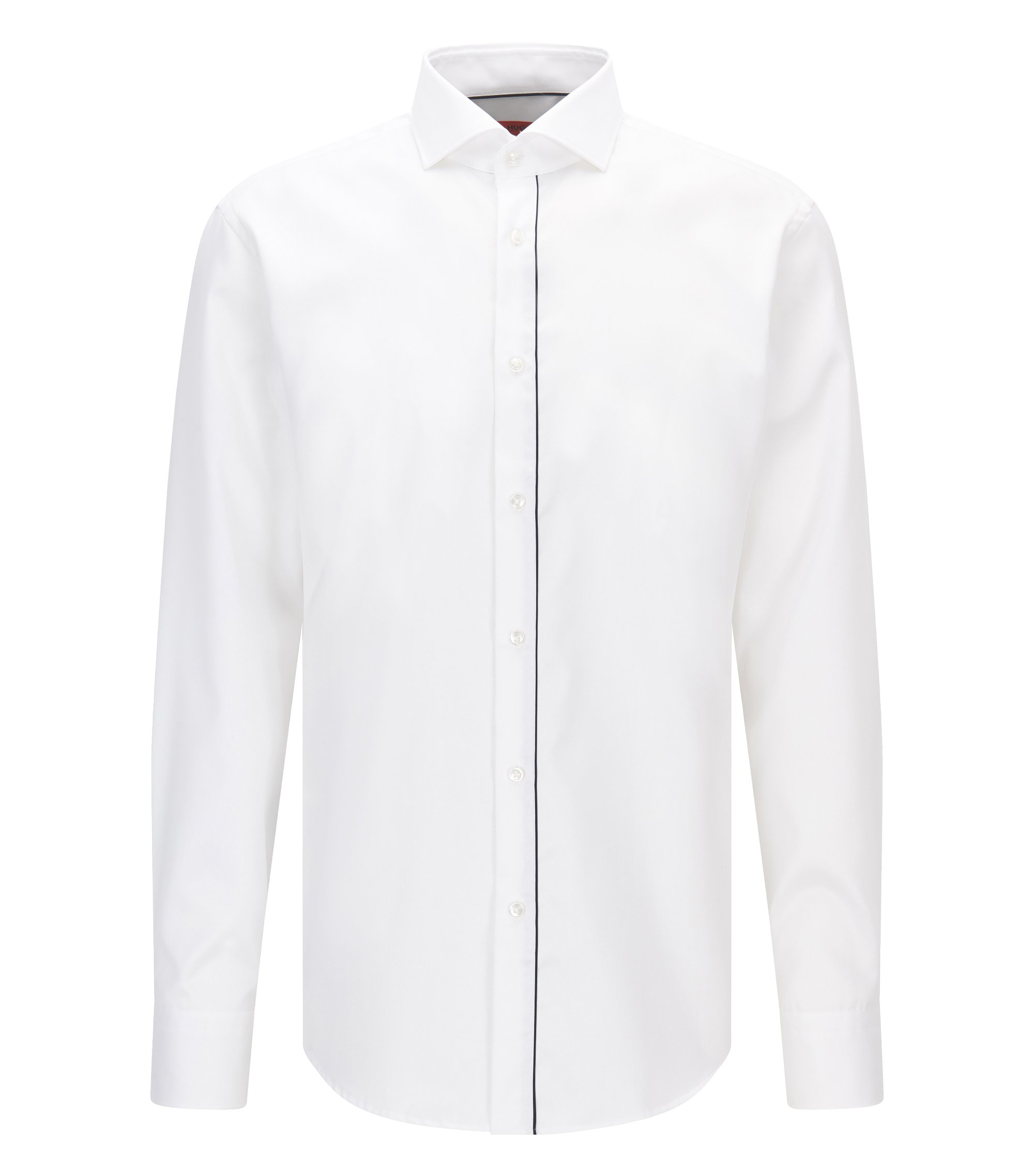 Camisa regular fit de algodón con tapeta ribeteada, Blanco