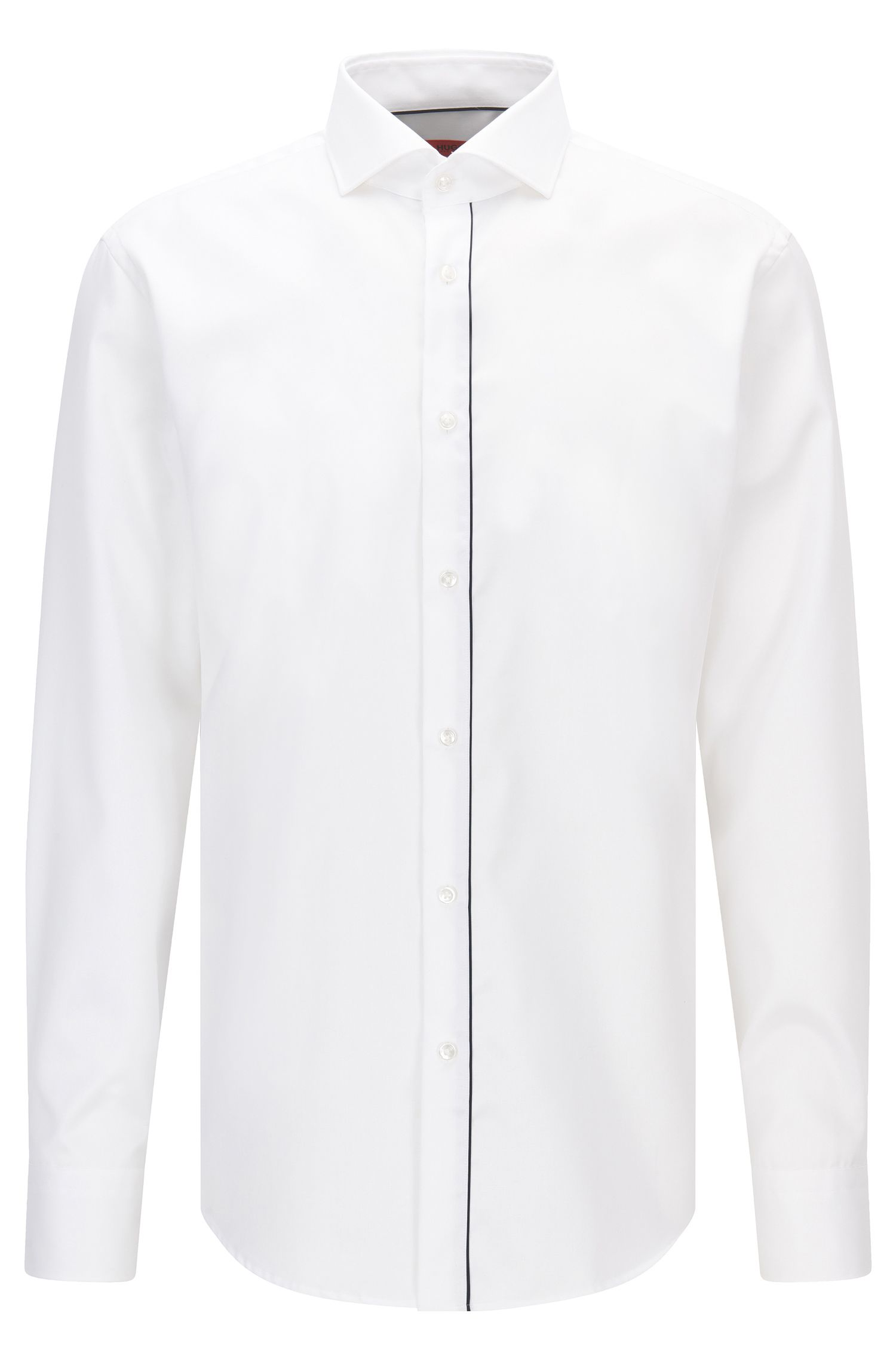 Chemise en coton Regular Fit à patte de boutonnage passepoilée