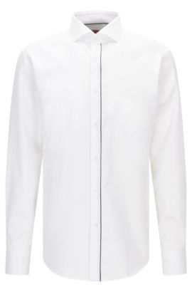 Camisa regular fit de algodón con tapeta ribeteada, Blanco